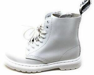 Dr Martens Girls 1460 Pascal Mono T Combat Boots White Leather Size 10