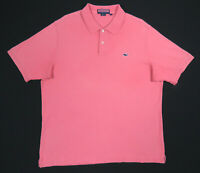 Vineyard Vines Coral Salmon Pink Whale Short Sleeve Polo Rugby Shirt Mens L