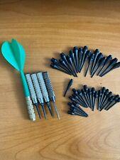 Darts-38 new Black Plastic Short Long Soft Tips and 5 used Barrels (1 Steel Tip)