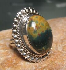 Sterling silver 925 oval bloodstone ring UK J-J½/US 5. Gift Bag