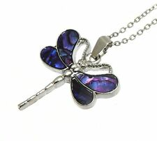 Purple Abalone Paua Shell Dragonfly Pendant Silver Colour Necklace - Gift Boxed