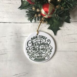 Personalised Our First Christmas as Mr & Mrs Christmas Tree Decoration Bauble