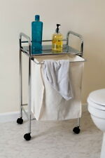 Laundry Trolley /Bathroom Storage Unit With Removable Canvas Carrier-BR015