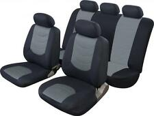 UNIVERSAL CAR SEAT COVER SET Leather Look Black/Grey Washable Airbag Compatible