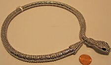 Necklace Silver Rhinestones Cluster Snake Spring Closure Choker Style   NWT L436