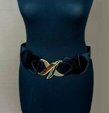 "Large Elasticated Waist Belt Black with Gold Metal Clasp Buckle - 3"" Wide"