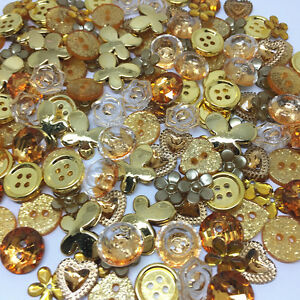 150 x GOLD Random Button and Flatback Mix Collection Card Craft Embellishments.