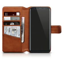 Genuine Real Leather Folio Case for Samsung Galaxy S8 - Cognac