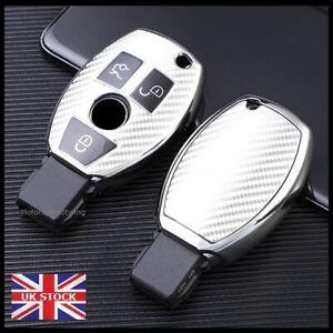 Silver Carbon Fibre Key Cover For Mercedes CLA CLS SLC GLA GLC GLE Button t70cf*