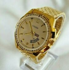 Men's 45mm Gold Citizen Quartz Analog Day Date Gold White Dial Stainless Watch