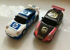 2pc Lot SCX Scalextric COMPACT 1/43 Slot Cars Porsche 911 UPS #28 HP #11 - NEW