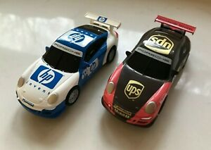 2pc Lot SCX Scalextric COMPACT 1/43 Slot Cars Porsche 911 UPS #28 HP #11 - NEW