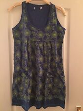 Joe Brown Blue And Green Flower Print Dress With Pockets Size 10