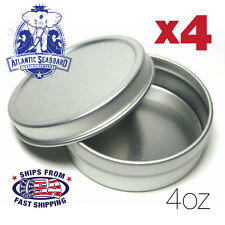 4oz Round Metal Survival Kit/Craft Tin Containers w/ Slip on Lids (for 4 Tins)