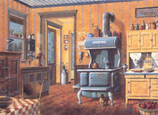 Country Kitchen Cook Stove Hoosier Cabinet Grinder Crock Print SIGNED by Souders