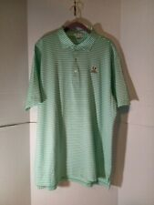 Mens Peter Millar Summer Comfort Striped Green And White Polo Size L Puppy Dog