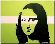 "BANKSY STREET ART CANVAS PRINT Mona Lisa Green 24""X 32"" stencil poster"