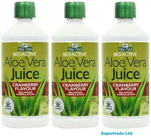 3 X Aloe Pura Aloe Vera Juice BioActive Maximum Max Strength Cranberry - 1 Litre