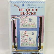 """JDNA Flowers and Butterflies 18"""" Quilt Blocks Hand Embroidery Craft Blanket"""