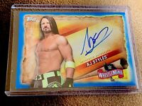 AJ STYLES 2020 TOPPS WWE ROAD TO WRESTLEMANIA ON CARD AUTO BLUE /50