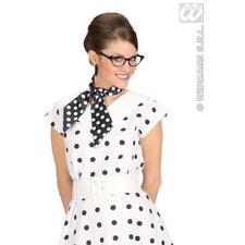 Ladies Black Satin Neck Tie Sash With White Polka Dots 1970'S Fancy Dress