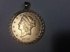 22KT FINE GOLD 1 OZ US OLD COIN WITH 14KT GREEK KEY FRAME PENDANT