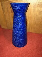 Apollo 11 Rocket Vase Royal Norfolk Blue Rippled Liftoff Effect 1960s