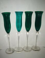 New Set 4 Polycarbonate Glases Green Tops Clear Stems Stotter Norse Unbreakable