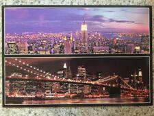 POSTCARD UNUSED NEW YORK CITY- MULTI (2) VIEWS OF NEW YORK SKYLINE AT NIGHT