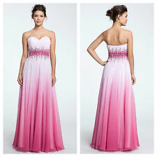 $368 Sz 4 Sean Collection Strapless Pink Ombre' Embellished Chiffon Ball Gown