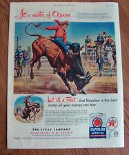 1952 Texaco Havoline Ad Brahman Steer vs Bronco Riding