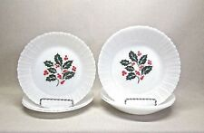 TERMOCRISA .. HOLLY BERRY OPAQUE MILK GLASS  SET OF 6 BOWLS AND SALAD PLATES