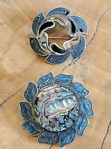 2 TAXCO STERLING INLAID ABALONE PENDANT PIN, MA (?), JD (?) Sunflower Flower