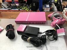 Pink Sony PS2 Slim console with 1 controller and all lead
