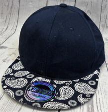 KB Ethos Navy Blue White Paisley Snapback Cap Hat