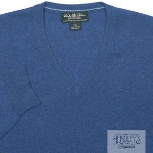BROOKS BROTHERS COUNTRY CLUB Cashmere Sweater 2XL in Sapphire Blue V-Neck ITALY