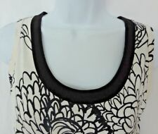 Auth MARNI White with Black FLORAL Design COTTON Full SKIRT Pleated DRESS