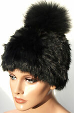 Mütze Pelz Black Strick Fuchs Bommel Fell Hat Fox Fur Hat Kanin Schwarz