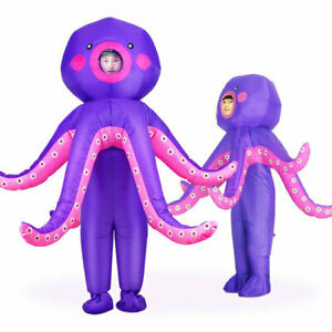 Adults/Kids Octopus Inflatable Halloween Party Cosplay Costume Blow up DressProp