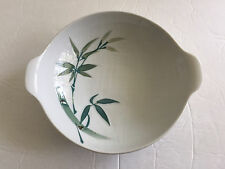 """Japan China Bamboo Pattern White Green Handpainted - 7-1/2"""" LUGGED CEREAL BOWL"""