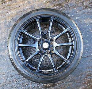 "17"" Genuine Used Calibre Motor Rismo Black & Blue Alloy Wheel 7J 4x100 ET40 #26"
