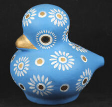 Mexican Ceramic Whistle Duck Hand Painted/Made Folk Art Signed Mexico Blue