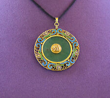 Old CHINESE EXPORT Art Nouveau Lucky FU JADE & Enamel  Vermeil Silver Pendant
