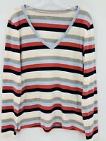 J Crew Women's Striped Perfect Fit Long Sleeve V-Neck T Shirt Size XL NWOT