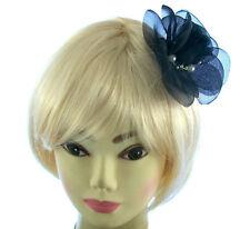 Grande Negro Flor Para Pelo con perla Recortar Montada en una clip y broche