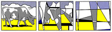 Cow Going Abstract-Triptych A1 by Roy Lichtenstein High Quality Canvas Print