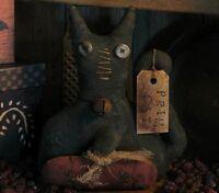 PATTERN Primitive Halloween Frog Witch Doll /& Pumpkin Man UNCUT Threadbare Prims