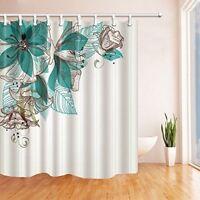 Grüne Blumen Badezimmer Duschvorhang Wasserdichtes Gewebe Duschrollo 12 Haken