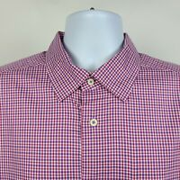 David Donahue Red Purple Check Mens Dress Button Shirt Size XL