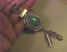 "Huge Important 4 3/4"" Navajo Ray Bennett Turquoise & Sterling Pendant"